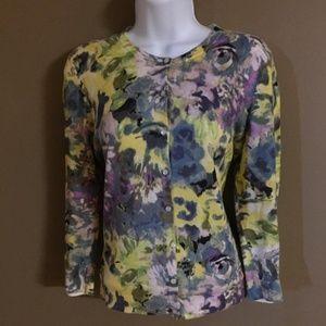 ann taylor loft watercolor floral cardigan